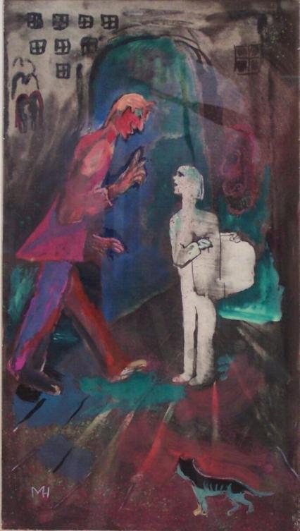 Mephisto_und_Schüler_(Faust_I),_Margret_Hofheinz-Döring,_Mischtechnik,_1960_(WV·Nr.1165)