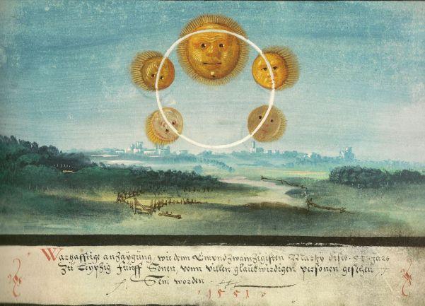 Augsburger_Wunderzeichenbuch_—_Folio_169_Fünf_Sonnen_über_Leizpig_1551